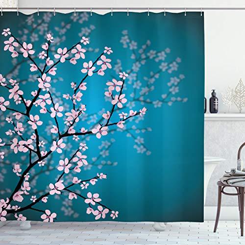 ABAKUHAUS japonés Cortina de Baño, Patrón Sakura Bloom, Material...
