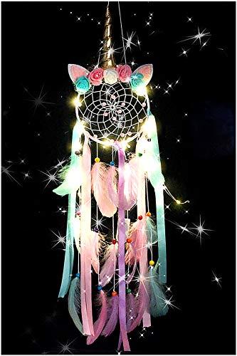 EONAZE Atrapasueños LED, hecho a mano, plumas, atrapasueños bohemio, decoración artística para niñas, dormitorio, romántico, decoración de pared, boda, coche, regalo (rosa-169)