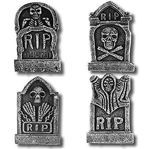 PREXTEX Paquete de 4 Adornos de Halloween de 43,2 cm lápidas Rip de Cementerio de Espuma Ligera Decoraciones de Halloween Rip