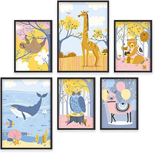 Cuadros para la habitación del bebé - Set de 6 pósters de animales - Marcos de fotos A4 y A3 para niños - Impresiones divertidas y coloridas - Accesorios de Baby Shower para niños y niñas