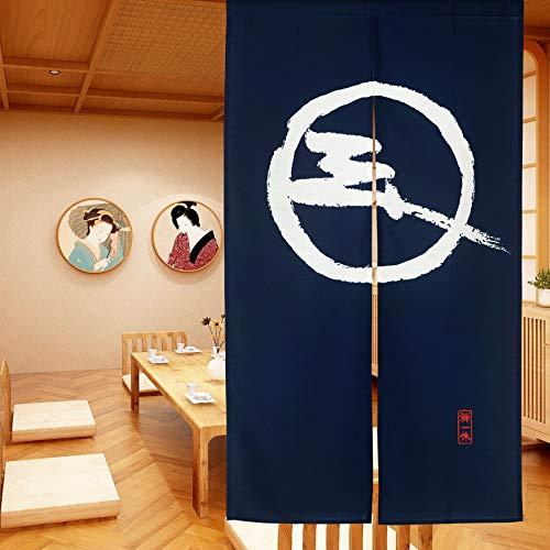 LIGICKY Cortina de puerta japonesa Noren tipo largo para decoración del hogar, 85 x 149 cm, azul (patrón tradicional simple)