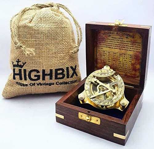 HIGHBIX Brújula de latón dorado con caja de madera, brújula...