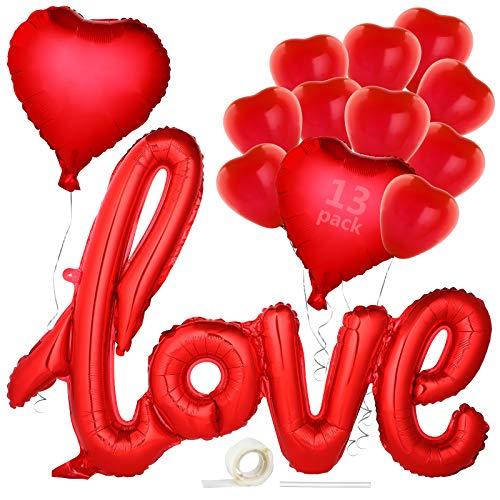 Valentín-Globos, GeeRic 13pcs Kit Romántico de Globos decoracion 12 corazón rojo Globos y 1 rojo globos'LOVE' 76cm, para el día de San Valentín boda cumpleaños aniversario compromiso decoración