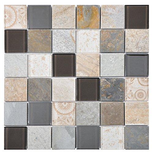Mosaico de Vidrio y Mármol en Malla DEC-47082ATO002, Beige, 8 mm, 30...