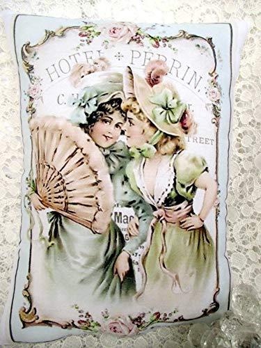 Fundas de almohada decorativas suaves fundas de almohada victorianas para damas, capó, abanicos, rosas, rosa desgastada y rosa, cojín Shabby Chic para coche, sofá cama, sofá, decoración de Navidad