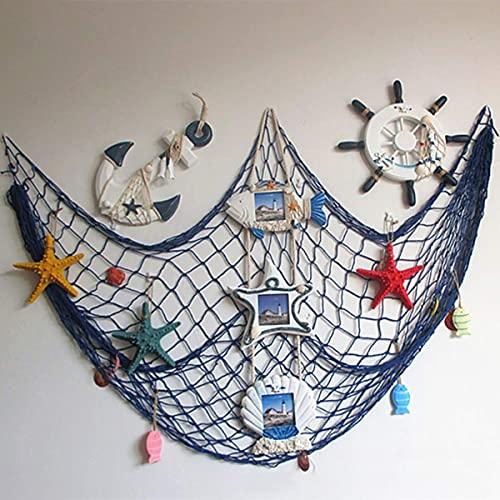 Ruick - Red de pesca decorativa de pared, conchas de playa, para...