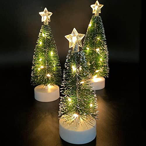 Mini árbol de Navidad Artificial 3 Piezas de árbol de Navidad de...