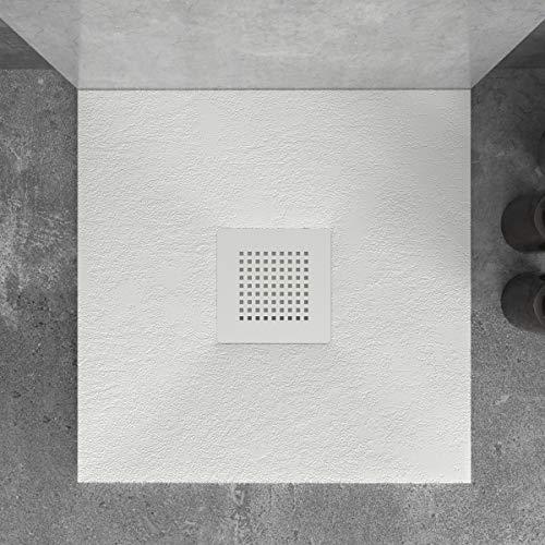 Plato de Ducha de Resina Mineral - Forma Cuadrada - Textura Pizarra,Antideslizante y Antibacteriano - Acabado Mate - Incluye Sifón y Rejilla de 23,5cm (80x80, Blanco)