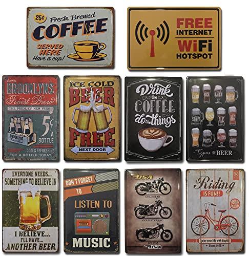 Placas Vintage  . Set de 10 Chapas Decorativas metálicas para pared  ...