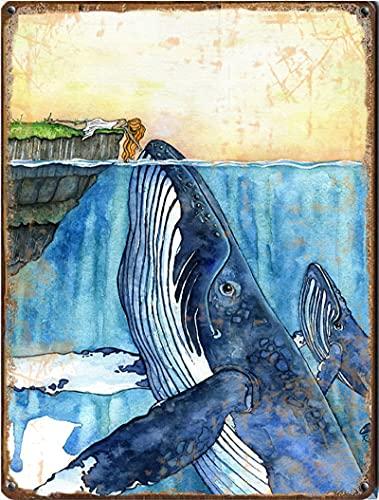 Graman Letrero vertical de lata con ballena jorobada para acuarela, estilo retro, arte de pared, cartel decorativo de metal, letrero de lata de 20 x 30 cm