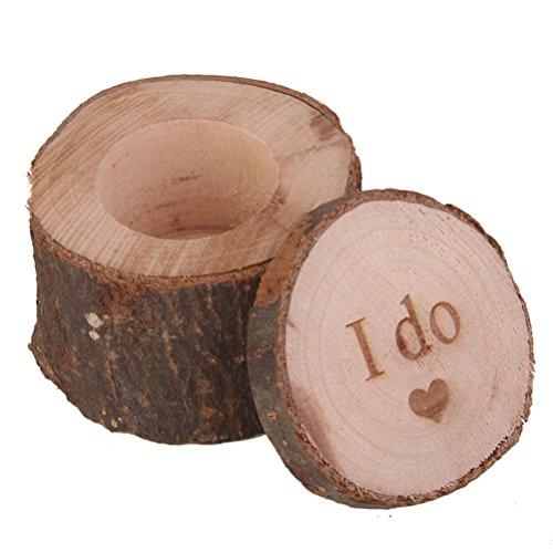 PIXNOR de madera I Do Shabby Chic rústico boda anillo portador caja