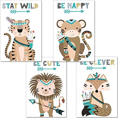 artpin® Juego de 4 pósteres para habitación infantil – Decoración Niño Niña – Cuadros de pared A4 para habitación de bebé – Animales del bosque indio Safari Escandinavo, Boho, Jungle, multicolor (P44)
