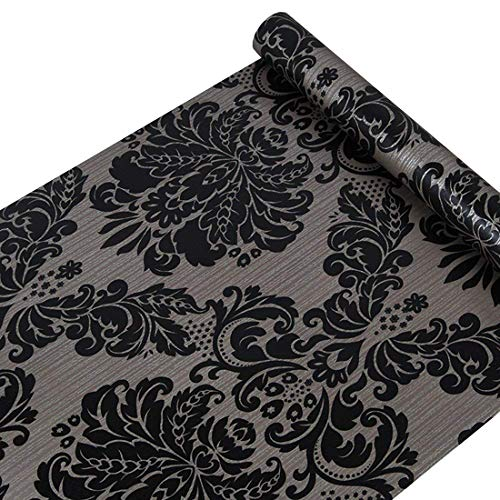 Vinilo Autoadhesivo Papel de Contacto Decorativo de Damasco Negro para armarios Puerta Victoriano cajón Dresser Vinilo Adhesivo de Pared (45 x 500 cm)