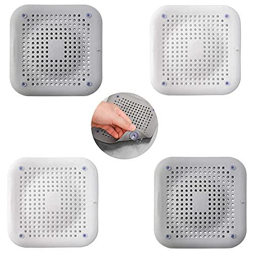 Protección de desagüe de silicona de 4 piezas con ventosa, mampara...