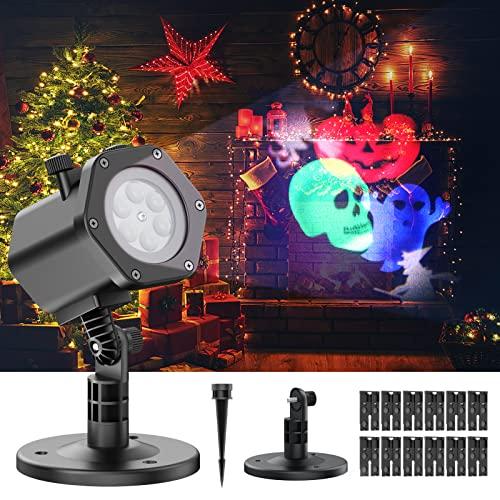 Luces de proyector navidad 12 diapositivas con patrones temáticos...