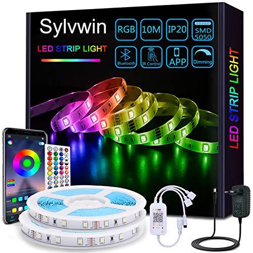 Sylvwin Tiras LED 10m,Tiras de Luces LED 10m RGB con Sincronización Musical,Aplicación Bluetooth y 40 Botones Control Remoto para Sala de Estar / Cocina,Decoración de Dormitorio,Fiesta, Bar ,TV
