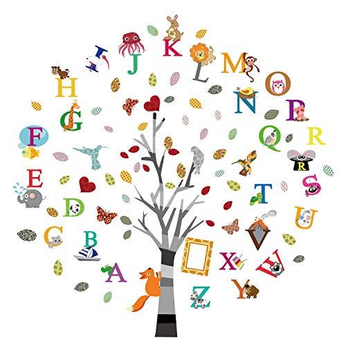 ufengke Pegatinas de Pared Árbol del Inglés Alfabeto Vinilos Adhesivos Pared Animales Letras Decorativos para Habitación Infantiles Bebés