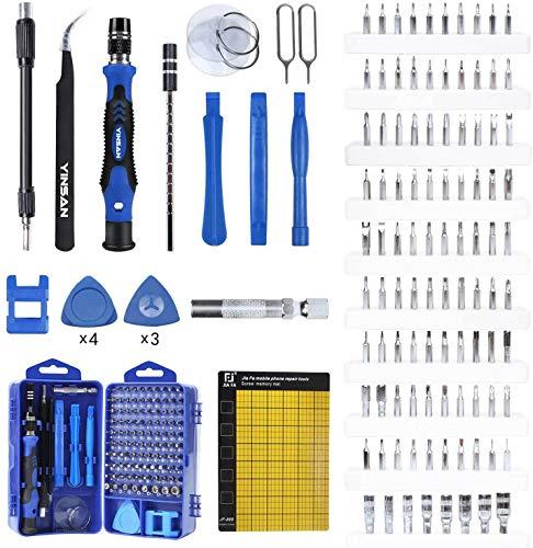 YINSAN 120 en 1 Juego de Destornilladores de Precisión con Magnetizador, Kit de Herramientas de Reparación de Bricolaje Profesional para iPhones, Laptops, Teléfono, Xboxs, Gafas, Reloj, Cámara, TV ect