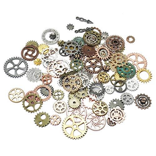 Gnognauq 500 Gramos Engranajes Steampunk Antiguos Vintage Plata Oro Bronce Manualidades Accesorios Decorativos Joyas Relojes Rueda de Encantos DIY Aleatorios
