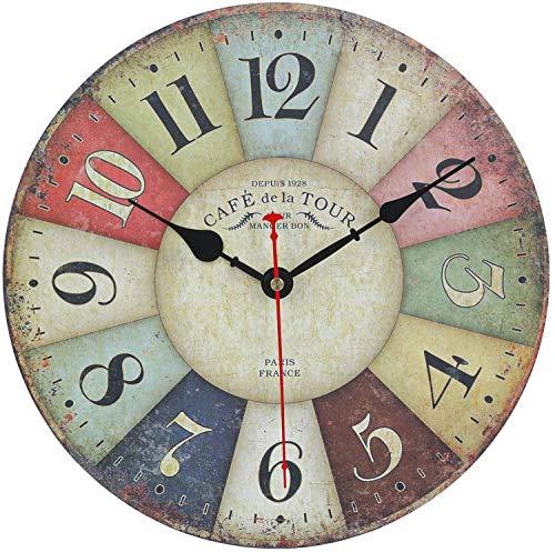 Reloj de pared vintage multicolor francés, reloj moderno hecho de...