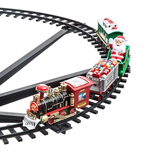 258051 Tren de Navidad para centro de árbol Diámetro 89 cm 33 pzs...