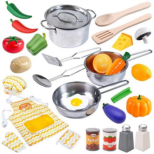 JOYIN Juguetes de Cocina Acero Inoxidable 22 Piezas Set Utensilios de Cocina Culinario Mini Cocina de Juguete Incluye Múltiples Accesorios para Niños