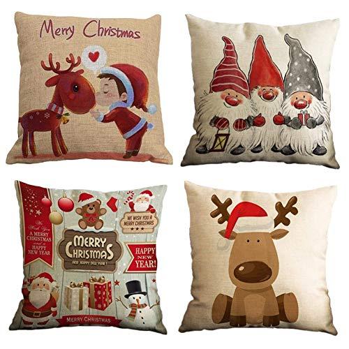 Gspirit Feliz Navidad 4 Pack Encantador Papá Noel Alce Algodón Lino...