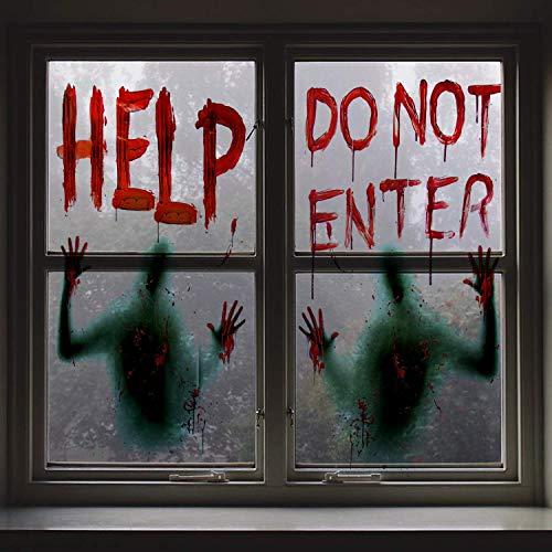 Angshop 2 piezas Halloween sangrienta ventana sangrienta carteles...