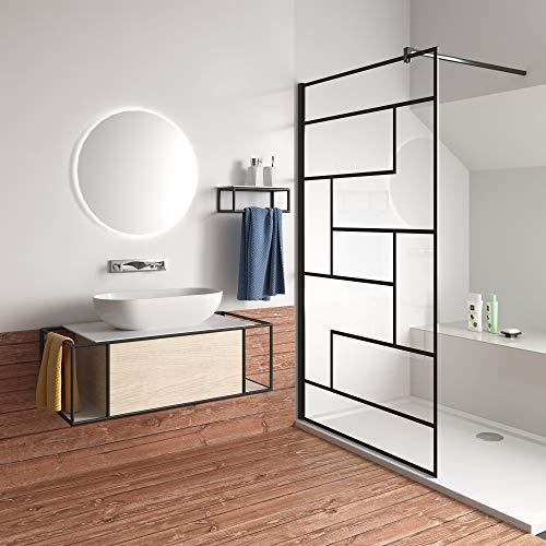 90x200cm Mamparas de Ducha Pantalla Panel Fijo estilo industrial negro...