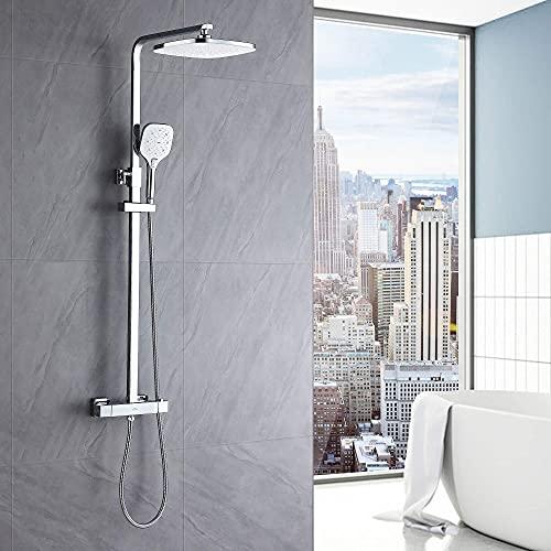 Auralum Columna ducha Termostatico, grifo ducha para baños, Set de ducha con 10'' ducha de lluvia y 3 Funciones Ducha de Mano. Barra Altura Ajustable