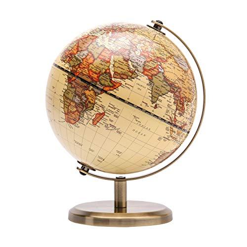 Exerz 14CM Globo Terráqueo - en Inglés - Decoración de escritorio educativa/geográfica/moderna - Con una base de metal (Antiguo)