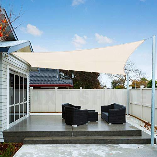 AXT SHADE Toldo Vela de Sombra Rectangular 3 x 4 m, protección Rayos UV Impermeable para Patio, Exteriores, Jardín, Color Crema