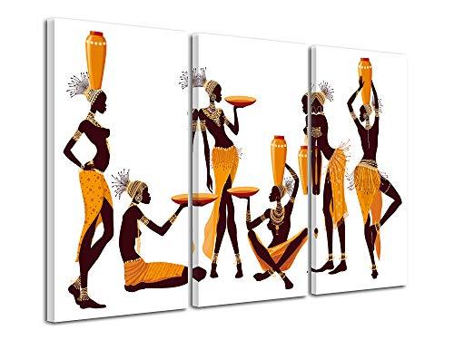 Declina - Cuadro decorativo africano, cuadro de paisaje africano, cuadro decorativo para mujer africana, 90 x 60 cm, Lona, naranja, 90 x 60 cm