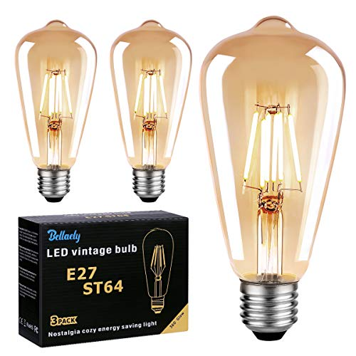 Bombilla Vintage E27 LED, Bombilla Filamento LED ST64 6W Equivalente a 60W, 600LM 2700K E27 Retro Edison Bombillas Decorativas Lámpara Ambar Cálido, No Regulable - Pack de 3