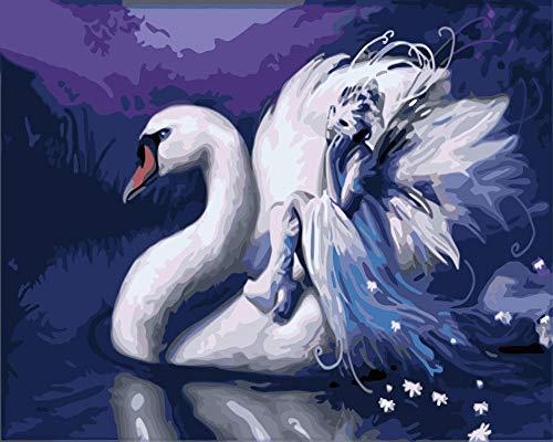 Pintura por Numeros, Pintar con Numeros Kits-Hada cisne Cuadros para...