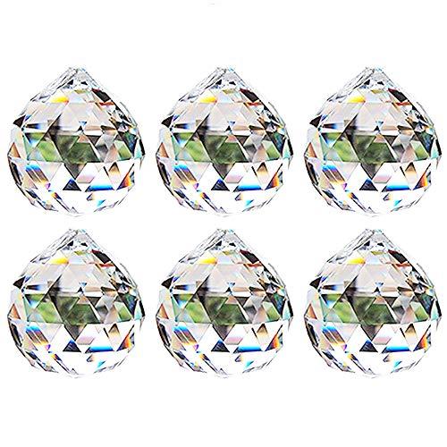 Nuptio 40mm Prisma de Bola Octogonal de Cristal Transparente 6 Piezas - Cuelgan Facetadas Suncatcher Colgante para Lámpara de Techo, Feng Shui, Casa de la Boda, Decoraciones de Oficina