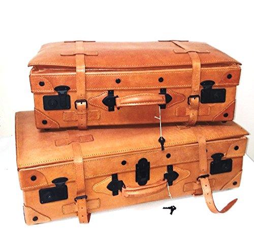 Juego de 2 Maletas de Cuero Rígidas Vintage para Viaje o decoración...