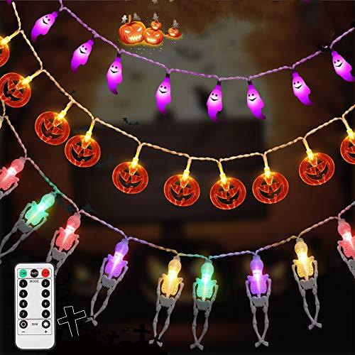 Decoración de Halloween LUNSY 90LEDLuces de cadena de Halloween con control remoto Calabaza impermeable + fantasma blanco + murciélago UV para exterior Navidad Fiesta de Halloween decoración