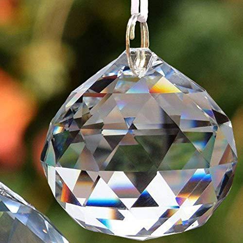 EasyBravo - Prismas de bola de cristal transparente de 50mm, Feng Shui, para decoración que captura el sol, bolas de prisma facetadas para colgar+kit para colgarlos