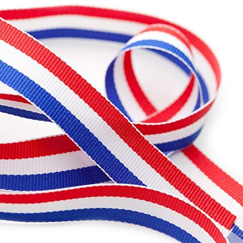 TRIXES 45 m x 10 mm Carrete Cinta de Nylon Decorativa Tricolor Francesa Rojo Blanco Azul para el Día de la Bastilla Artes Artesanías Banderas Patrióticas Celebraciones Nacionales