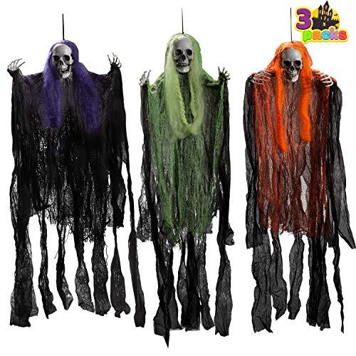 Paquete de 3 La Parca de Halloween 90cm Fantasma de Esqueleto de...