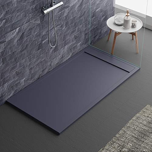 Plato de ducha de color antracita RAL7016 de mineralmármol, efecto...