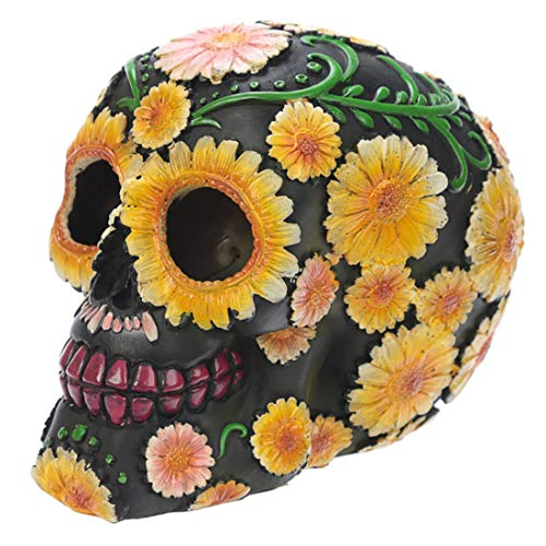 Puckator Decoración de calavera con motivos florales, polirresina,...