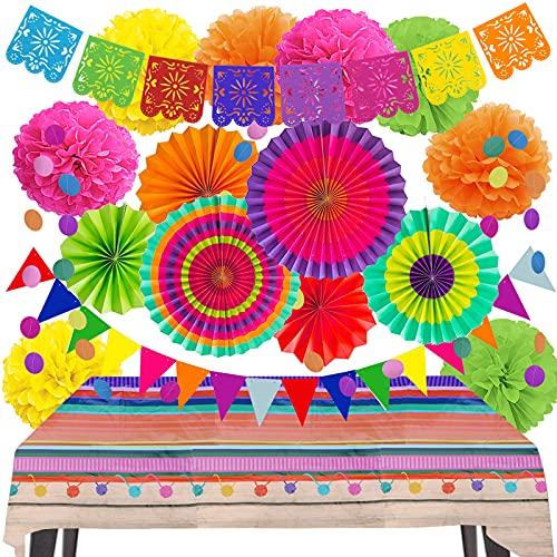 ZERODECO Juego de decoraciones para fiestas – Banderas mexicanas y...