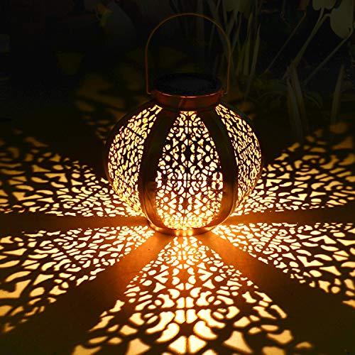 Farol Solar para Exteriores, Tencoz Luces de Linterna Solar, Lámpara Colgante LED Luz Solar IP44 Impermeable Apagary Encender Automáticamente Lámparas Colgantes Luces para Camping, Terraza, Camino