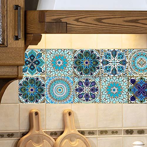 Pegatinas para Azulejos, Impermeable Autoadhesivo Marroquí Azulejos Retro Estilo Victoriano Mosaico Transferencias Azulejos Pegatinas Bricolaje para Cocina Baño Hogar Decoración(10 x 10 cm,C-10PCS)