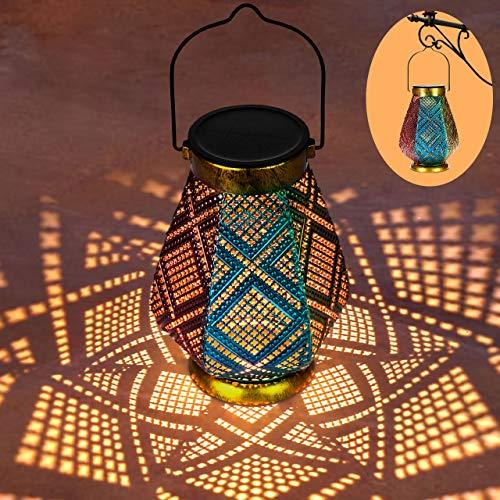Linterna Solar Exterior GolWof 3 Colores LED Luz Solar Linterna Jardín Lámpara de Metal IP44 Impermeable Lampara LED Solar Vintage para Decoracion Jardin Patio Terraza Césped Arboles Fiesta Navidad