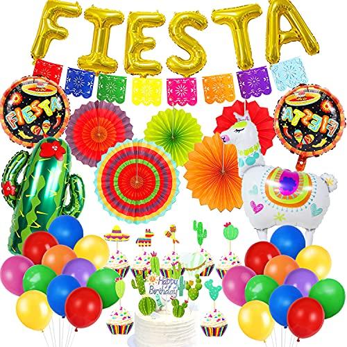 HQXCFB Decoraciones Fiesta Mexicana con Abanicos de Papel Coloridos...
