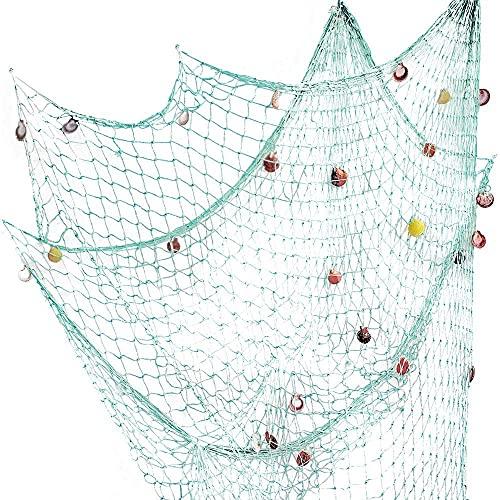 Red de pesca con conchas de playa temática para fiestas, hogar,...