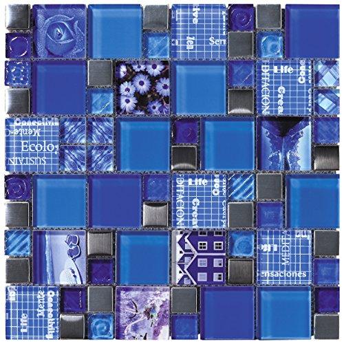 Mosaico de Vidrio en Malla DEC-47082AUU005, Azul, 8 mm, 30 x 30 cm